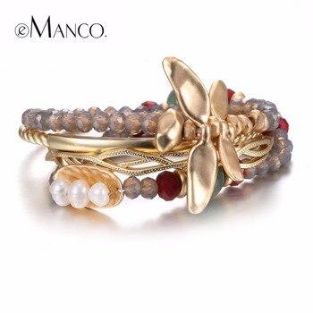EManco Vintage Multicouches Libellule Bracelets et Bracelets pour les Femmes Cristal Semi-précieux Pierres et Perles Bracelets Bijoux
