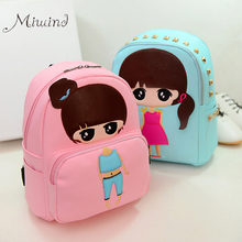 High Quality PU Leather Children Girls Mini Bag Cute Printing Anime Rivet Zipper 2017 Waterproof Dora Small Backpacks Mochila
