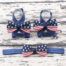 1 Set American Flag Baby Headbands & Shoes Set, Baby Shower Gifts, Baby Girl Boots ,, Baptism Shoes, Hair Accessories