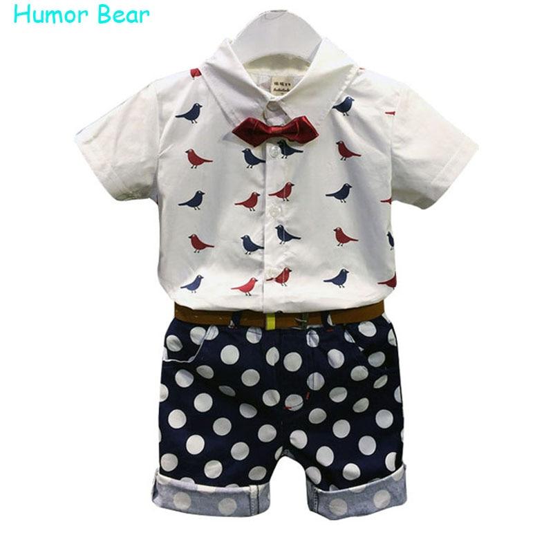 Humor Bear Fishion Baby Boy Clothes Set Children Clothing Bird Blouse+Dot Pant+Bowknot+Belt 4 pcs Suit Casual Infant Clothing<br><br>Aliexpress
