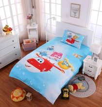 Super Wings Airplane cartoon cotton fabric comforter bedding set 3/4/5pcs kids bed in bag sheet linen bedclothes pillow case