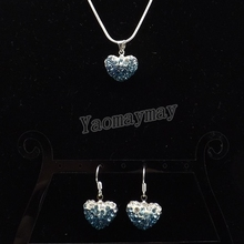 Heart Shape Rhinestone Shamballa Jewelry Set Gradient Peacock Earrings And Necklace For Women 5 Sets Wholesale Free Shipping