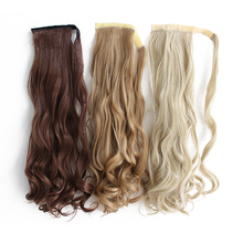 Shumeier 9Colors Long Wavy Clip in Synthetic Hair Ponytail  Heat Resistant Fiber Black Fake Hairpiece