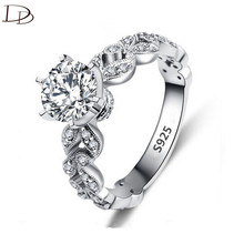 Buy 1.5 carat AAA zircon jewelry wedding engagement rings women vintage 925 sterling silver anel crystal bague leaves DD097 for $1.98 in AliExpress store