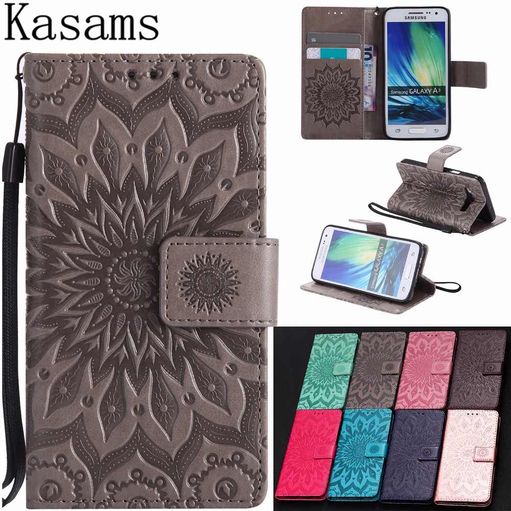 3D Sunflower For Samsung Galaxy A3 2015 2016 2017 Flip Leather Case For Galaxy A3 SM- A300 A310 A320 Kickstand Phone Shell Cover