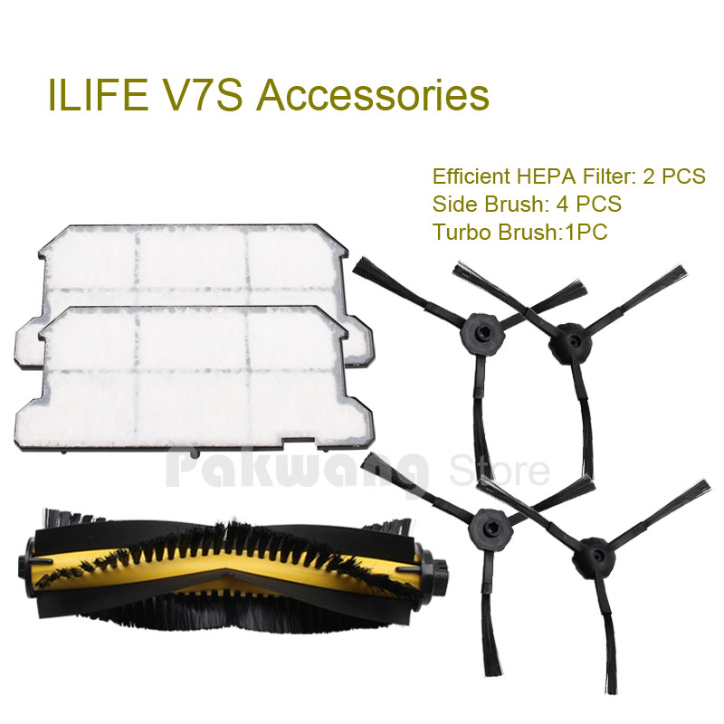 Original ILIFE V7S Robot vacuum cleaner parts Efficient HEPA Filter 2 pcs Side brush 4 pcs Turbo brush 1 pc factory