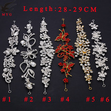 Free Shipping Wholesale 12 pcs/lot 11'' Rhinestone Connector Flower Bikini Connector Wedding Bridal Headpiece LSRC112401