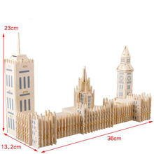 Wooden 3D Puzzles England Big Ben Building Puzzle 3D Jigsaw Contruction House Woodcraft Handmade Toys For Kids and Adult(China)