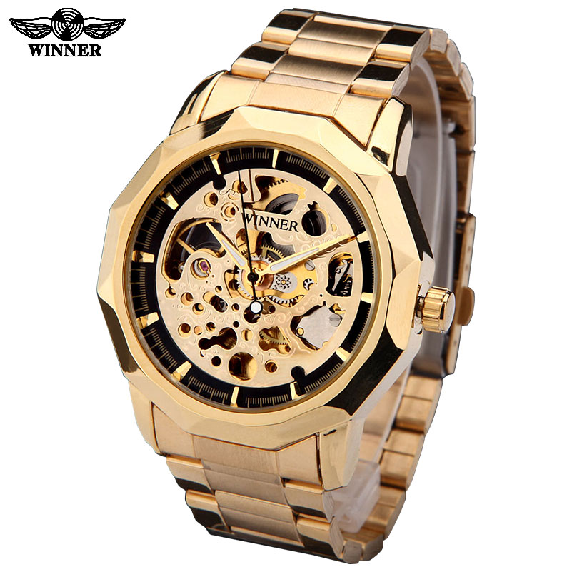 WINNER brand watches men mechanical skeleton wrist watches fashion casual automatic wind watch gold steel band relogio masculino<br><br>Aliexpress
