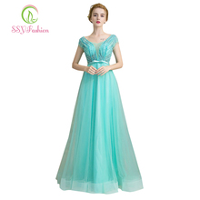 Vestidos SSYFashion 2017 New Light Green Evening Dress The Bride Banquet Elegant Beads Short Sleeves Long Party Formal Dresses(China)