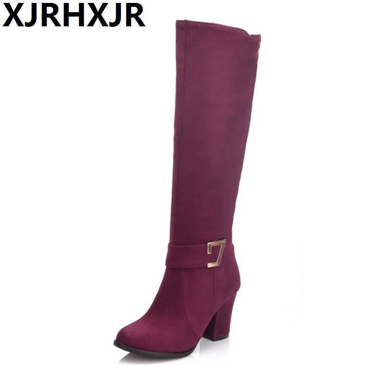 Knee-high Fashion Long Boots Women Spring Autumn Thick High Heel Riding Boots Ladies Slim Zipper Suede Leather Boots Size 32-48<br>