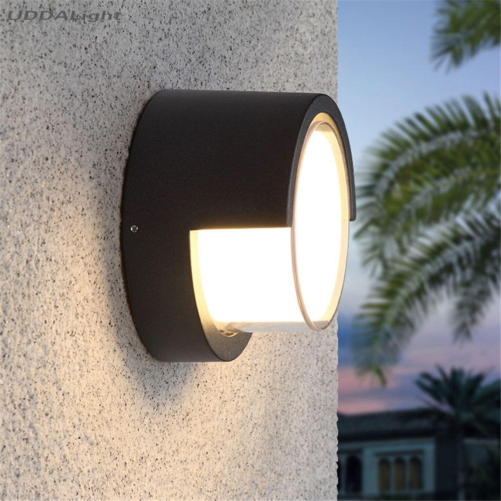 160mm outdoor lighting wall lamps ip65 10w house lamp round/square black one