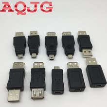10pcs/set USB OTG Adapter Connector 5Pin Changer Adapter Converter USB Male to Female Micro USB Mini USB Adapter Converter AQJG(China)