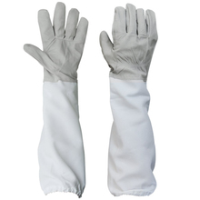 PHFU 1 Pair of Gloves with Protective Sleeves ventilated Professional Anti Bee for Apiculture Beekeeper - Black and White