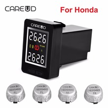 CAREUD U912 TPMS Car Tire Pressure Wireless Monitoring System 4 External Sensors and LCD Display Embedded Monitor for Honda