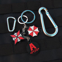 black background color design Resident Evil Umbrella Corporation Blood Type A POS  Keychain ring  3D PVC Patch Badges PB362