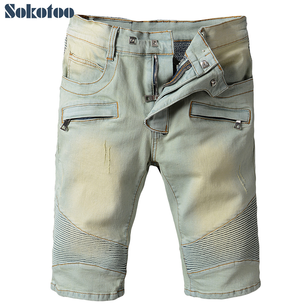 Sokotoo Mens summer vintage knee length stretch denim shorts Casual pleated biker jeansÎäåæäà è àêñåññóàðû<br><br>