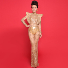 2016 New Women's Leotard Gold Sequin Embroidery Stage Wear Bodysuit Long Pants Clothing Set Female Singer Female Dj Costume