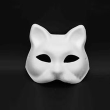 Unpainted Blank White Women Party Masks Masquerade Mask Venetian Cat DIY Gift Christmas New Year(China)
