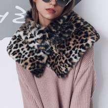 Fur Collar Scarves Sexy Leopard Elegant Cape Poncho Women Fashion Soft Fluffly Winter Warm Scarf Neck Warmer Ring Buckles 6Q0235