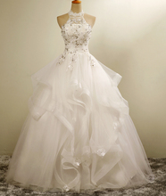 free shipping  vestido de noiva halter high collar ball gown wedding dresses 2017  new styles