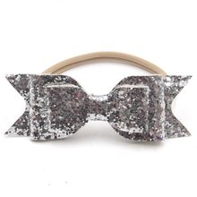 36pcs/lot 12cm Big Glitte Leather Bow With Headband Headwear Bowknot Headband Hair Accessories Leather Synthetic Hair Wear(China)