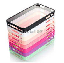 Hot Simple Design Candy Color Ultra Flexible Bumper Transparent Soft TPU Back Case Cover For Apple iphone4 4s EC071