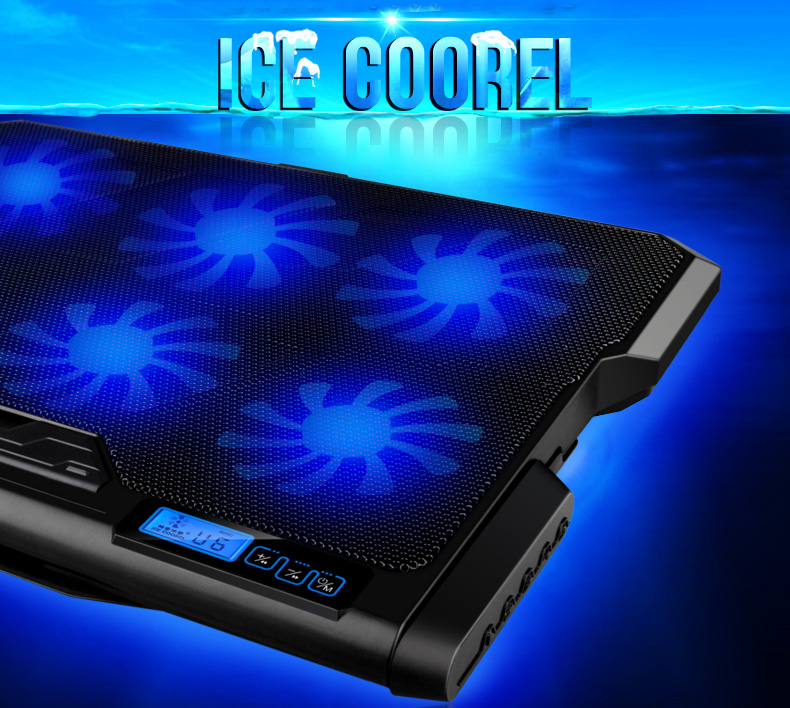 ICE COOREL مبرد وقاعدة للحاسوب المحمول 6 مراوح تبريد 16