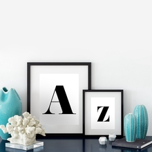 Personalised Letter Print Living Room Wall Art Decor , Minimalist Canvas Painting Monogram Alphabet Prints Modern Home Decor