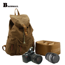 BAGSMALL Casual Canvas Camera Backpack with Cover for DSLR Photographic Camera Bag Travel Daypack Schoolbag Waterproof Rucksack