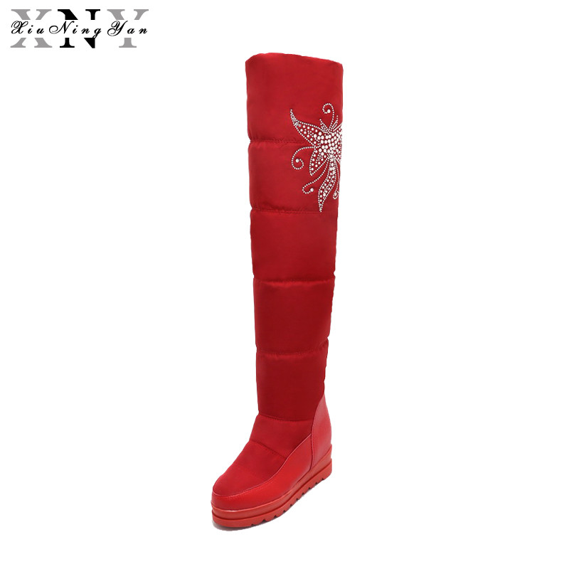 XiuNingYan Waterproof Snow Boots Women Knee High Boots Platform Flat Heels Handmade 2017 Winter Boots Woman Fashion Shoes Brand<br>