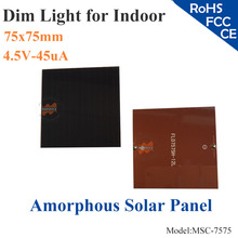 75x75mm 4.5V 45uA dim light Small Film Amorphous Silicon Solar Cell DIY for indoor Product,calculator,toys,0-4V battery