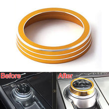 BBQ@FUKA 1 Pc Metal Console Gear Shift Panel Knob Button Ring Cover Trim Garlish Bezel Decoration For 2016 Ford Taurus