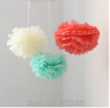 6PCS Coral Mint Ivory Tissue Paper Flower Pom Poms Pompoms Wedding Birthday Anniversary Party Christmas Girls Room Decoration