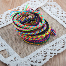1lot=5pc Weave Rubber Hair Band Bracelet Gum For Hair Kids Hair Accessories Women Accessories Lady Headband(China)