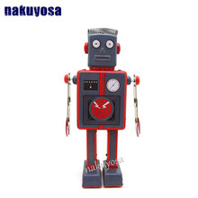 antenna robot Classic collection Retro Clockwork Wind up Metal Walking Tin Toy best gift for your friends