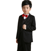 Page boy Outfits Kids Black Wedding suits Jacket Vest Shirt Trouser Bow tie 5PCS Children Tuxedos Boys Dress suit Formal sets(China)