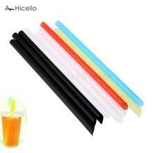 100pcs Plastic Milkshake Birthday Wedding Party Supplies Bar Boba Milk Tea Tube Food grade Plastic White Multicolor Black(China)