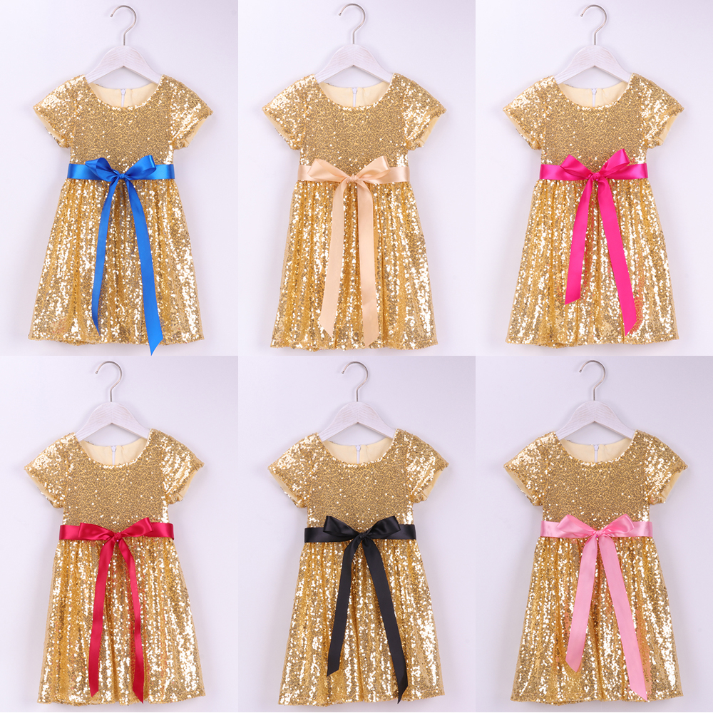 New Sparkly Sequin Party Kids Clothes Pink Girls Dress Occasion Birthday Wedding
