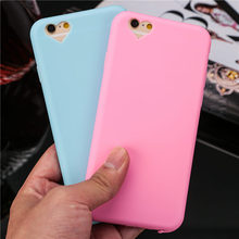 Candy colors Soft TPU phone cases For iphone 6 6S case coque 4.7inch Cute loving heart Camera hole cover with Dust plug shell