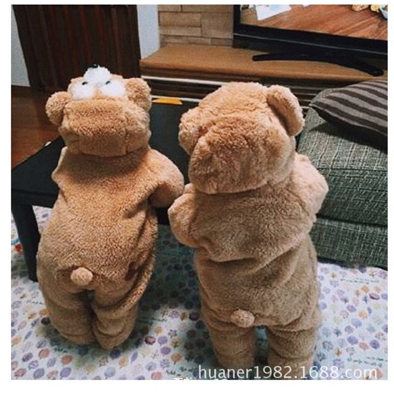 The cartoon Bear baby autumn and winter warm plush toys clothes thickened 3 Colour<br>