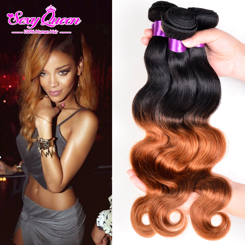 Sunny Queen Hair Products 4 Bundles Brazilian Body Wave Ombre Hair T1b 30 Two Tone Human Hair Weave 7A Mink Brazilian Hair Curly<br><br>Aliexpress
