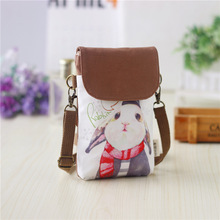 Canvas cartoon printing children school bags kids travel messenger money pouches phone bags for kindergarten baby girls boys
