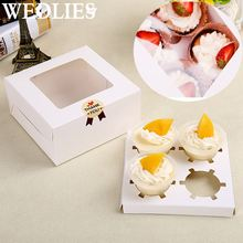 50Pcs White Muffin Insert Bakery Packing Box Card Paper 4 Hole Cupcake Boxes Wedding Party Events Cupcake Decoration Gift Box