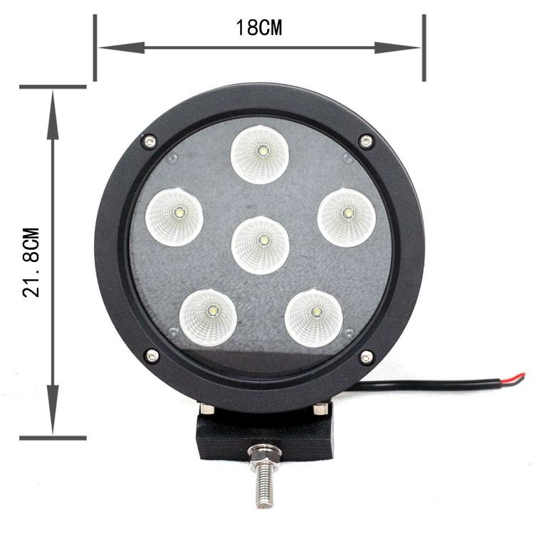 CZG-7602B high bright led 10W*6pcs 7 round led work lamp 7inch 60w led work light flood beam for land rover defender,heavy duty<br>