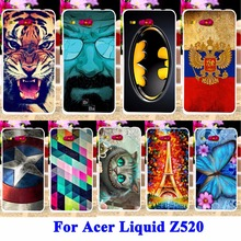Soft Silicon Cell Phone Cases For Acer Liquid Z520 Cover Cat Tiger Captain American Shell Hood For Acer Liquid Z520 Housing Bags