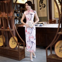Shanghai Story National trend chinese style dress Faux Silk long cheongsam China Qipao chinese traditional clothing(China)
