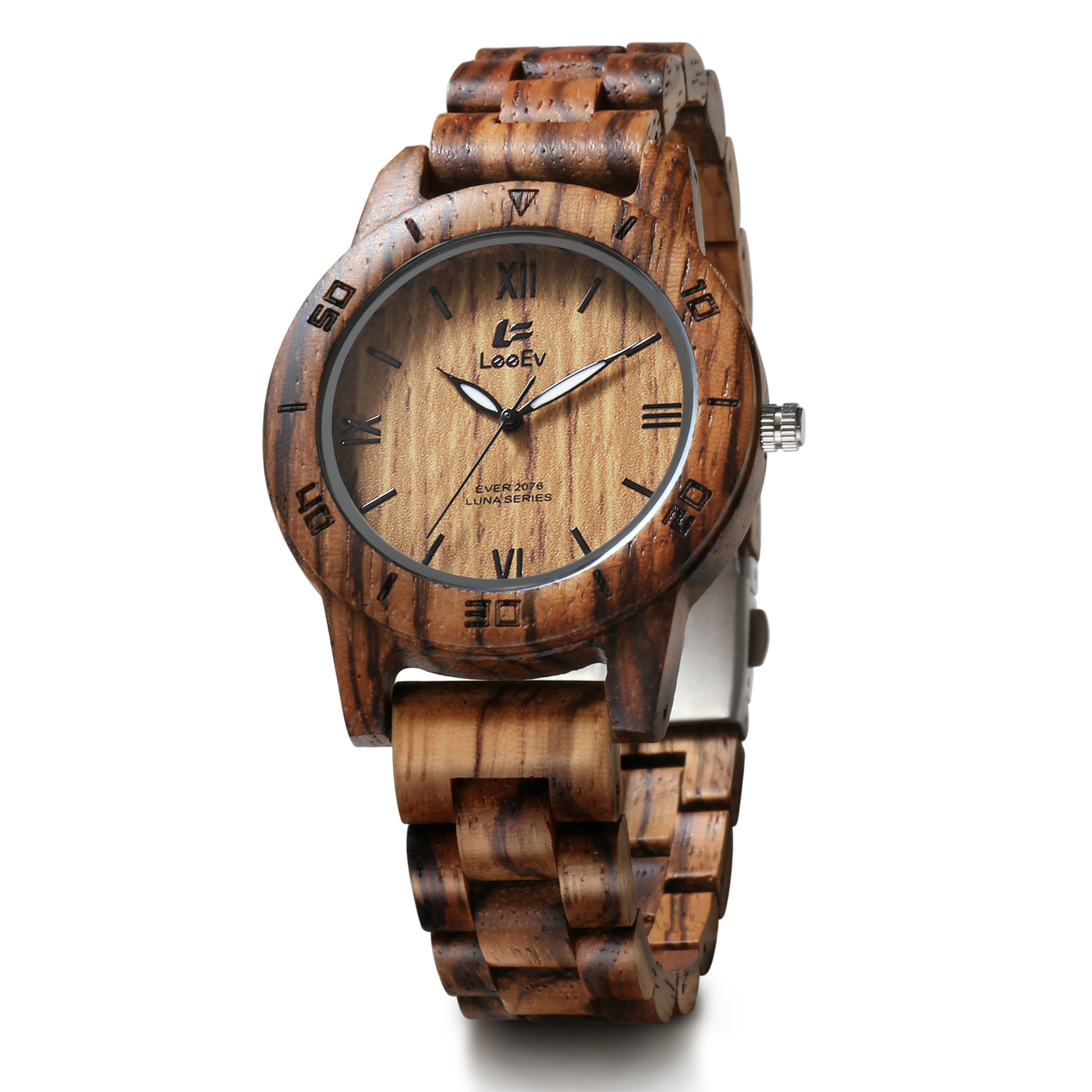 LeeEv Handmade 100% Natural Zebra Sandalwood Women Wristwatch Roman Numeral Round Retro Quartz Watch Female Wooden Strap Relogio<br>