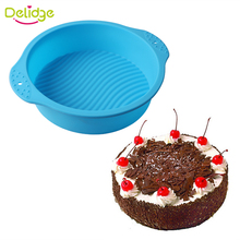 Delidge 1 pc Big Size Round Shape Cake Mold DIY Silicone Non-Stick Muffin Cake Pan Ripple Pattern Bread Chocolate Baking Pan(China)