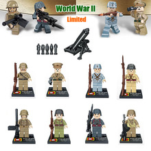 Limited Rare 8pcs World War 2 Military Army Soviet US Soldier Small Toy Figure Building Block Brick Toy Hitlerry with weapons